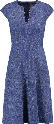 Woman Blair Embellished Cotton Blend Jacquard Dress Blue