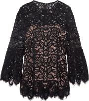 Woman Corded Lace Top Black Size 0