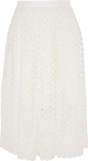 Woman Crocheted Lace Midi Skirt Ivory Size 2