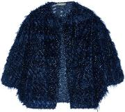 Woman Fil Coupe Organza Jacket Midnight Blue Size 8