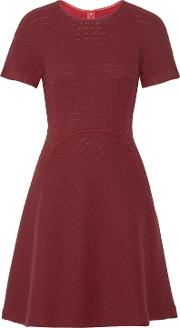 Woman Flared Open Knit Wool Blend Dress Claret