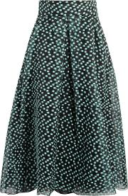 Woman Pleated Fil Coupe Organza Midi Skirt Grey Green
