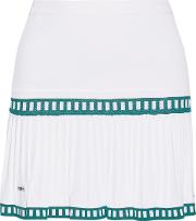 L'etoile Sport Woman Medea Two Tone Pleated Stretch Knit Tennis Skirt White Size L