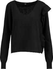 Woman Allegra Ruffled Cashmere Sweater Black Size M