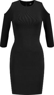 Woman Clark Cold Shoulder Stretch Knit Dress Black Size Xs