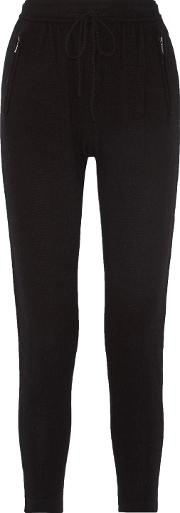 Woman Keira Wool And Cashmere Blend Tapered Pants Black Size M