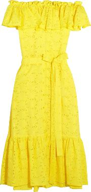 Woman Mira Off The Shoulder Broderie Anglaise Cotton Midi Dress Yellow