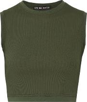 Woman Circular Cropped Ribbed Stretch Supplex Top Green Size S
