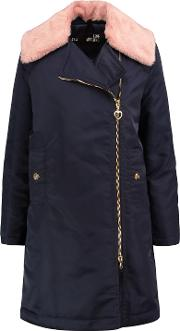 Woman Faux Fur Trimmed Satin Twill Coat Navy Size 44