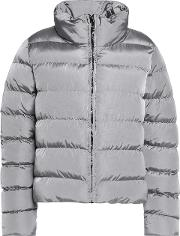 Woman Quilted Shell Jacket Gray Size 46
