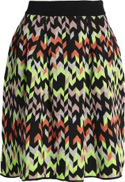Pleated Jacquard Knit Skirt