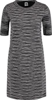 Woman Crochet Knit Wool Blend Dress Black