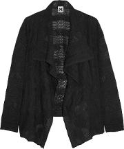 Woman Draped Crochet Knit Wool Blend Cardigan Black