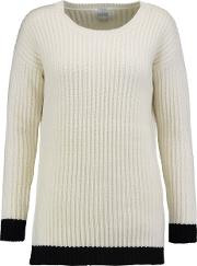 Woman Asia Ribbed Wool And Cashmere Blend Sweater Ivory Size M