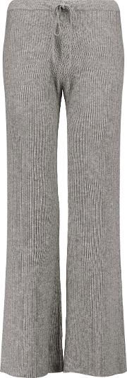 Woman Corfu Ribbed Wool And Cashmere Blend Wide Leg Pants Gray Size S