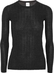 Woman Halki Ribbed Wool And Cashmere Blend Sweater Charcoal Size Xl