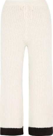 Woman Mara Ribbed Wool And Cashmere Blend Wide Leg Pants Ivory Size S