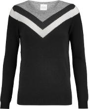 Woman Thilia Intarsia Wool And Cashmere Blend Sweater Black Size L