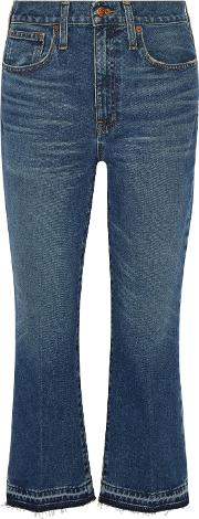Woman Cropped Frayed Mid Rise Flared Jeans Dark Denim Size 30