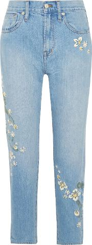 Woman Embroidered High Rise Straight Leg Jeans Mid Denim Size 28
