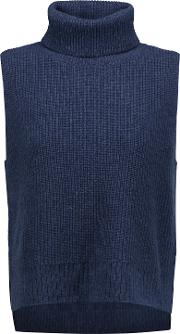 Woman Ribbed Wool And Cashmere Blend Turtleneck Sweater Midnight Blue Size Xl