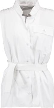 Woman Belted Cotton Poplin Shirt White