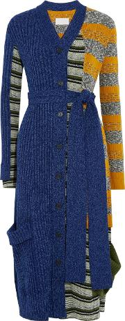 Woman Belted Paneled Wool Blend Cardigan Blue Size M