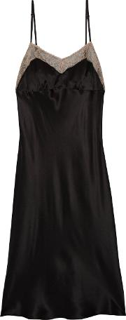 Woman Lace Trimmed Silk Charmeuse Dress Black