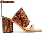 Woman Snake Effect Leather Sandals Orange Size 36