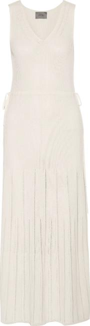 Woman Pointelle Trimmed Ribbed Stretch Knit Maxi Dress White