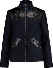 Faux Textured Leather Paneled Wool Blend Jacket