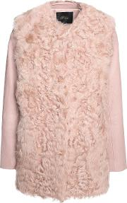 Woman Textured Leather Paneled Shearling Coat Antique Rose