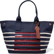 Woman Embellished Striped Cotton Tote Navy