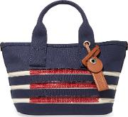 Woman Small Embellished Striped Cotton Tote Navy