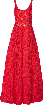 Woman Crystal Embellished Brocade Gown Red Size 6
