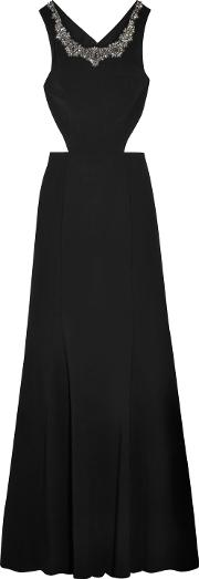 Woman Cutout Embellished Stretch Crepe Gown Black Size 12