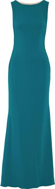 Woman Embellished Tulle Paneled Crepe Gown Teal Size 16