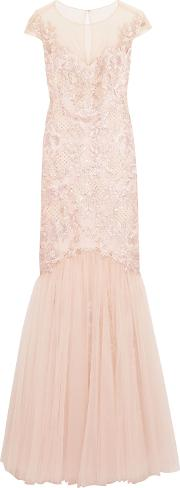 Woman Embroidered Embellished Tulle Gown Blush Size 0