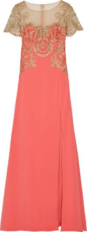 Woman Embroidered Tulle And Stretch Crepe Gown Coral