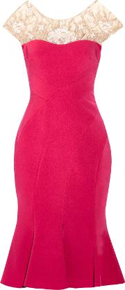 Woman Embroidered Tulle Paneled Stretch Crepe Dress Magenta