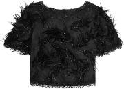 Woman Faux Feather And Bead Embellished Lace Top Black Size 8