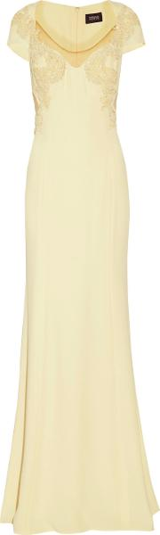 Woman Floral Appliqued Crepe Gown Pastel Yellow Size 16