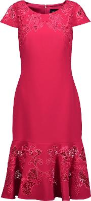 Woman Fluted Embroidered Lace Paneled Cady Dress Fuchsia