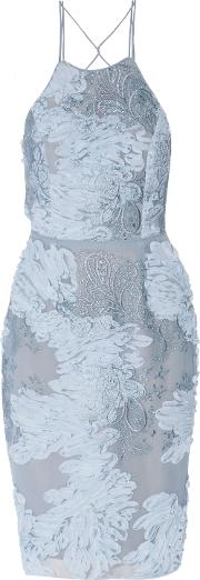 Woman Open Back Embroidered Chiffon And Tulle Dress Sky Blue