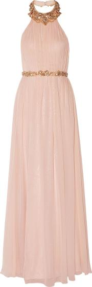 Woman Pleated Embellished Silk Chiffon Halterneck Gown Pastel Pink Size 12