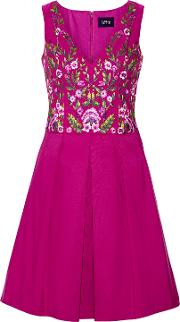 Woman Pleated Embroidered Faille Mini Dress Violet