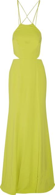 Woman Tasseled Embellished Stretch Cady Gown Chartreuse Size 6