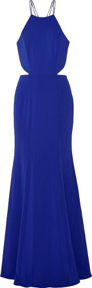 Woman Tasseled Embellished Stretch Cady Gown Royal Blue Size 14