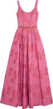 Woman Textured Crepe Gown Pink Size 4