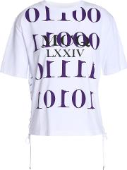 Lace Up Embellished Printed Cotton Jersey T Shirt